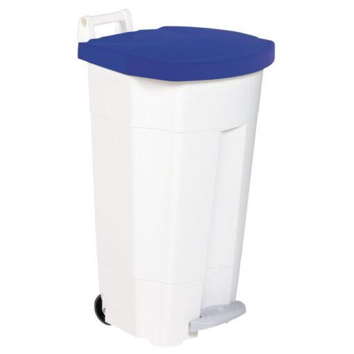 Papelera de plástico color Blanco tapa Azul,  móvil económica Boogy con pedal 90 L,  51 cm x 51 cm x 90 cm 1