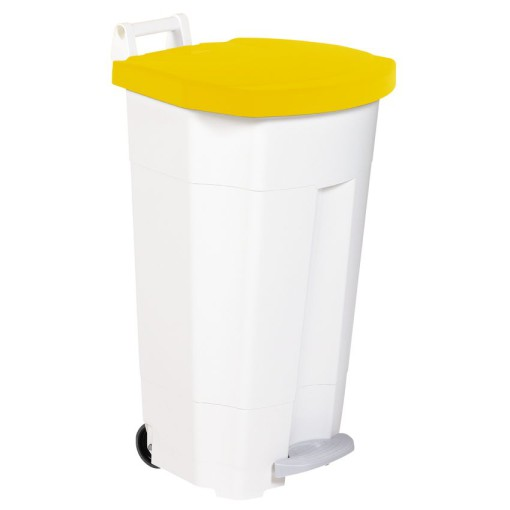 Papelera de plástico color Blanco con tapa Amarilla móvil económica Boogy con pedal 90 L, 51 cm x 51 cm x 90 cm 1