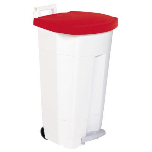 Papelera de plástico color Blanco Tapa Roja móvil económica Boogy con pedal 90 L, 51 cm x 51 cm x 90 cm 1