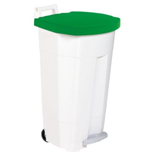 Papelera de plástico color Blanco tapa Verde móvil económica Boogy con pedal 90 L, 51 cm x 51 cm x 90 cm 1