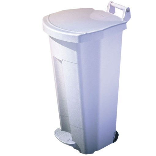 Papelera de plástico color Blanco móvil económica Boogy con pedal 90 L, 51 cm x 51 cm x 90 cm 1