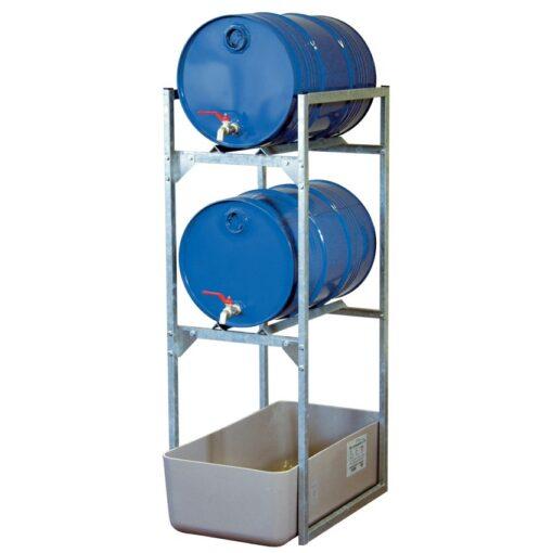 Estación de trasiego de acero galvanizado con cubeta poliéster para bidones, 65 litros 45 cm x 82 cm x 131 cm 1