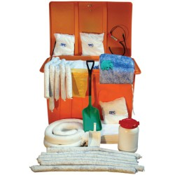 Kit anticontaminación hidrocarburos en caja. Envase  anticorrosión y tratado anti UV. 1100 L