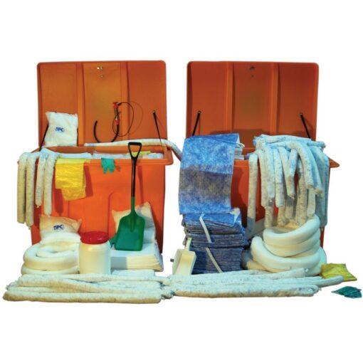Kit anticontaminación hidrocarburos en caja. Envase  anticorrosión y tratado anti UV