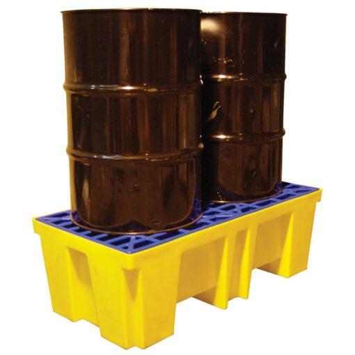 Cubetas de retención de polietileno 2 bidones, 260 litros 132 cm x 66 cm x 43 cm 1