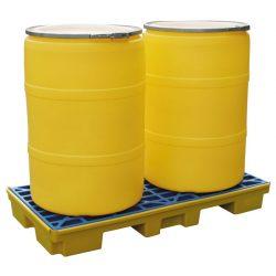 Plataforma de retención polietileno 2 bidones, 80 litros 132 cm x 66 cm x 15 cm