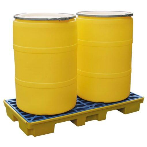 Plataforma de retención polietileno 2 bidones, 80 litros 132 cm x 66 cm x 15 cm 1