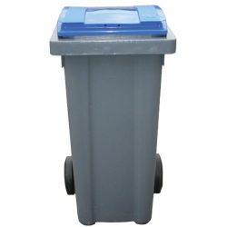 Contenedor de plástico color Gris con tapa de color Azul 2 ruedas, 240 L 58 cm x 72,5 cm x 107,5 cm