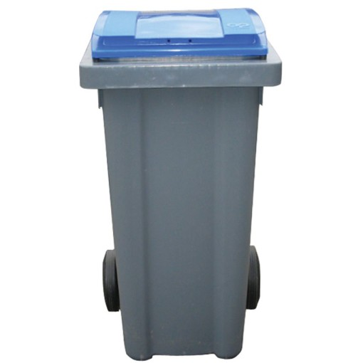 Contenedor de plástico color Gris con tapa de color Azul 2 ruedas, 240 L 58 cm x 72,5 cm x 107,5 cm 1