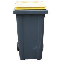 Contenedor de plástico color Gris con tapa de color Amarilla 2 ruedas, 240 L 58 cm x 72,5 cm x 107,5 cm