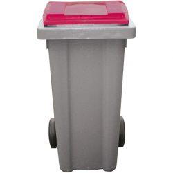 Contenedor de plástico color Gris con tapa de color Roja 2 ruedas, 240 L 58 cm x 72,5 cm x 107,5 cm