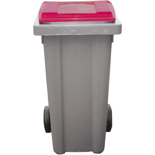 Contenedor de plástico con tapa de color Rojo 2 ruedas, 120 L 48 cm x 55 cm x 96 cm 1