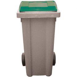 Contenedor de plástico color Gris con tapa de color Verde 2 ruedas, 240 L 58 cm x 72,5 cm x 107,5 cm