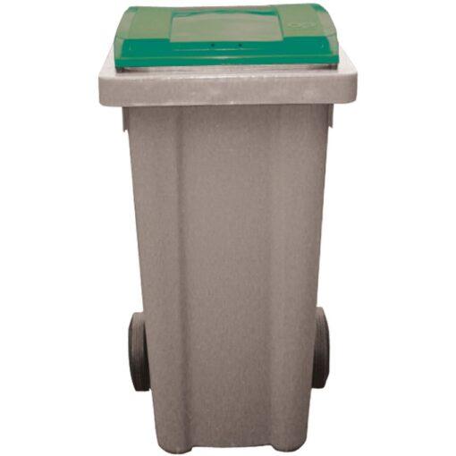 Contenedor de plástico con tapa de color Verde 2 ruedas, 120 L 48 cm x 55 cm x 96 cm 1