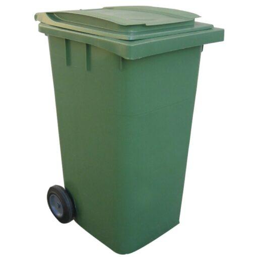 Contenedor de plástico color Verde 2 ruedas, 340 L 66 cm x 87 cm x 107,5 cm 1