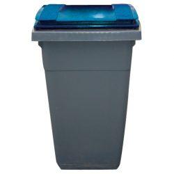 Contenedor de plástico color Gris con tapa de color Azul 2 ruedas, 340 L 66 cm x 87 cm x 107,5 cm