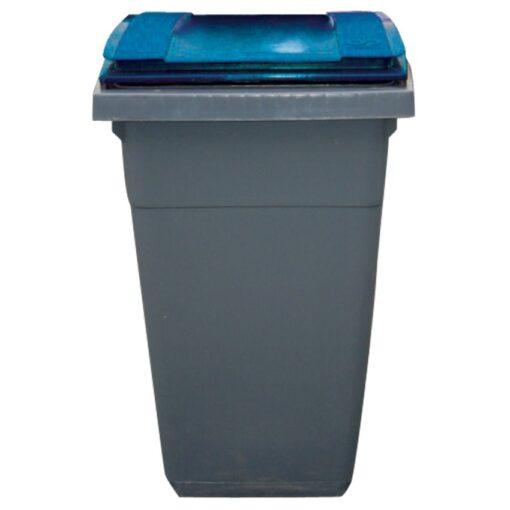 Contenedor de plástico color Gris con tapa de color Azul 2 ruedas, 340 L 66 cm x 87 cm x 107,5 cm 1