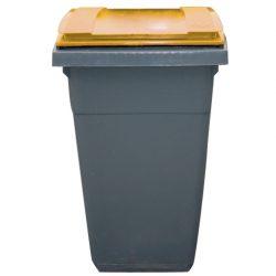 Contenedor de plástico color Gris con tapa de color Amarilla 2 ruedas, 340 L 66 cm x 87 cm x 107,5 cm