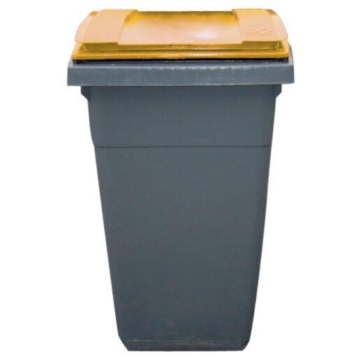 Contenedor de plástico color Gris con tapa de color Amarilla 2 ruedas, 340 L 66 cm x 87 cm x 107,5 cm 1
