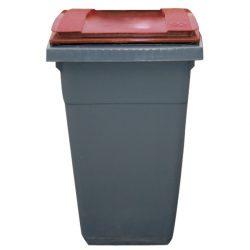 Contenedor de plástico color Gris con tapa de color Roja 2 ruedas, 340 L 66 cm x 87 cm x 107,5 cm