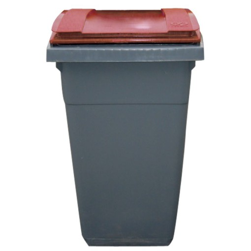 Contenedor de plástico color Gris con tapa de color Roja 2 ruedas, 340 L 66 cm x 87 cm x 107,5 cm 1