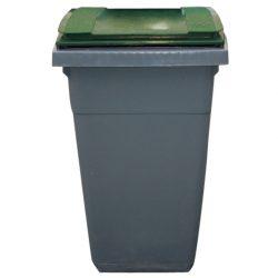 Contenedor de plástico color Gris con tapa de color Verde 2 ruedas, 340 L 66 cm x 87 cm x 107,5 cm