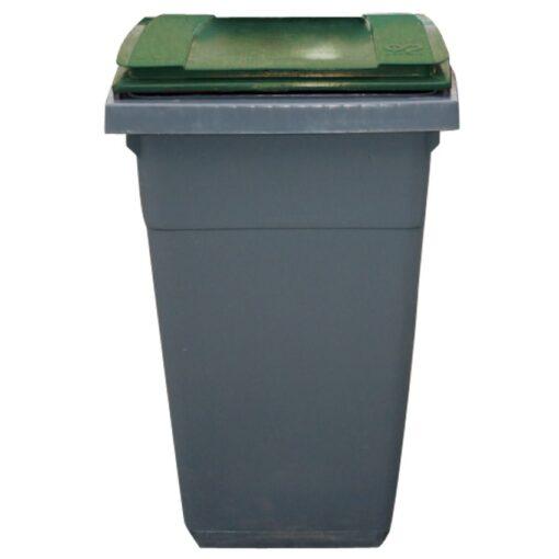 Contenedor de plástico color Gris con tapa de color Verde 2 ruedas, 340 L 66 cm x 87 cm x 107,5 cm 1