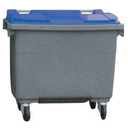 Contenedor de plástico color Gris con tapa de color Azul 4 ruedas, 500 L 124 cm x 65,5 cm x 110 cm