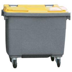 Contenedor de plástico color Gris  con tapa de color Amarillo 4 ruedas, 500 L 124 cm x 65,5 cm x 110 cm