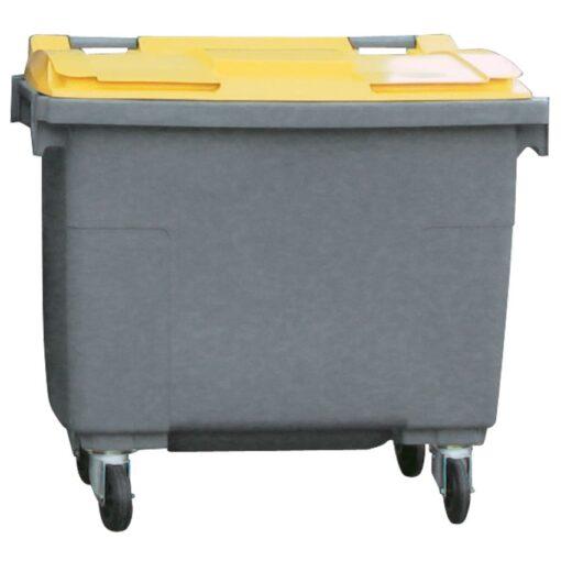 Contenedor de plástico color Gris  con tapa de color Amarillo 4 ruedas, 500 L 124 cm x 65,5 cm x 110 cm 1