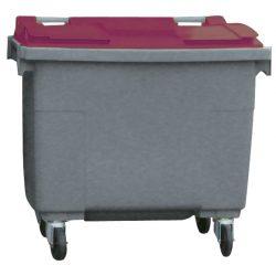 Contenedor de plástico color Gris con tapa de color Rojo 4 ruedas, 500 L 124 cm x 65,5 cm x 110 cm