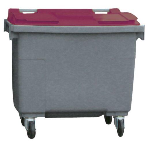 Contenedor de plástico color Gris con tapa de color Rojo 4 ruedas, 500 L 124 cm x 65,5 cm x 110 cm 1