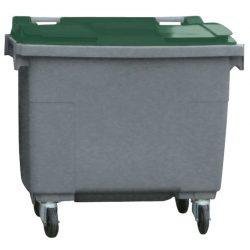 Contenedor de plástico color Gris con tapa de color Verde 4 ruedas, 500 L 124 cm x 65,5 cm x 110 cm