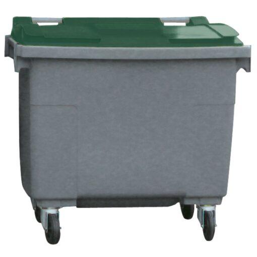 Contenedor de plástico color Gris con tapa de color Verde 4 ruedas, 500 L 124 cm x 65,5 cm x 110 cm 1