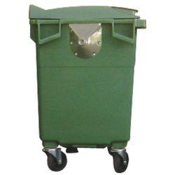Contenedor de plástico color Verde 4 ruedas, 770 L 126 cm x 77,2 cm x 130,5 cm