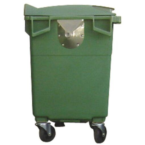 Contenedor de plástico color Verde 4 ruedas, 500 L 124 cm x 65,5 cm x 110 cm 1