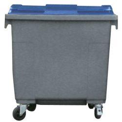 Contenedor de plástico color Gris con tapa de color Azul 4 ruedas, 660 L 126 cm x 77,2 cm x 116 cm