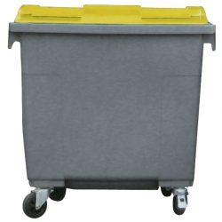 Contenedor de plástico color Gris  con tapa de color Amarillo 4 ruedas, 660 L 126 cm x 77,2 cm x 116 cm