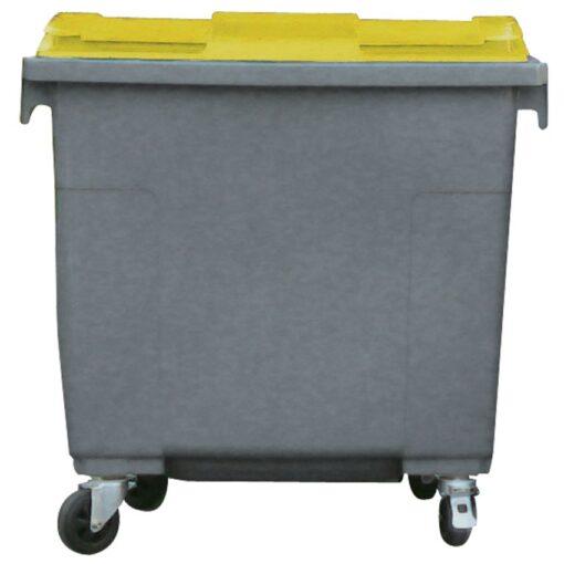 Contenedor de plástico color Gris  con tapa de color Amarillo 4 ruedas, 660 L 126 cm x 77,2 cm x 116 cm 1