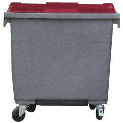 Contenedor de plástico color Gris con tapa de color Rojo 4 ruedas, 660 L 126 cm x 77,2 cm x 116 cm