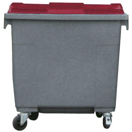 Contenedor de plástico color Gris con tapa de color Rojo 4 ruedas, 660 L 126 cm x 77,2 cm x 116 cm 1