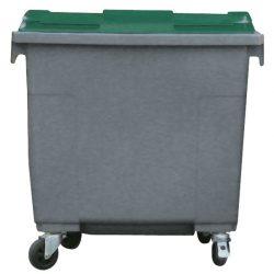 Contenedor de plástico color Gris con tapa de color Verde 4 ruedas, 660 L 126 cm x 77,2 cm x 116 cm
