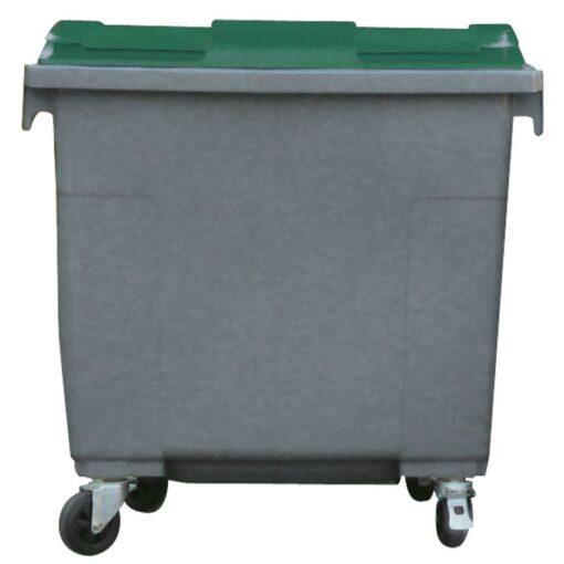 Contenedor de plástico color Gris con tapa de color Verde 4 ruedas, 660 L 126 cm x 77,2 cm x 116 cm 1