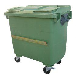 Contenedor de plástico color Verde 4 ruedas, 1000 L 126,5 cm x 107 cm x 130 cm