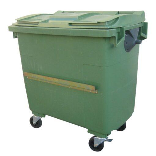 Contenedor de plástico color Verde 4 ruedas, 1000 L 126,5 cm x 107 cm x 130 cm 1