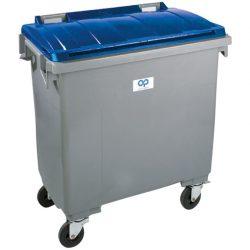 Contenedor de plástico color Gris con tapa de color Azul 4 ruedas, 1000 L 126,5 cm x 107 cm x 130 cm