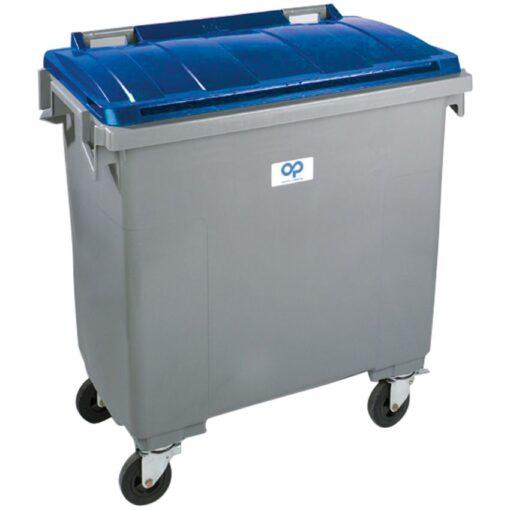 Contenedor de plástico color Gris con tapa de color Azul 4 ruedas, 770 L 126,5 cm x 107 cm x 130 cm 1