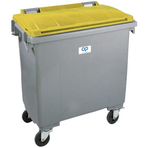 Contenedor de plástico color Gris con tapa de color Amarillo 4 ruedas, 1000 L 126,5 cm x 107 cm x 130 cm 1