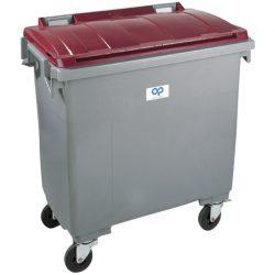 Contenedor de plástico color Gris con tapa de color Rojo4 ruedas, 1000 L 126,5 cm x 107 cm x 130 cm