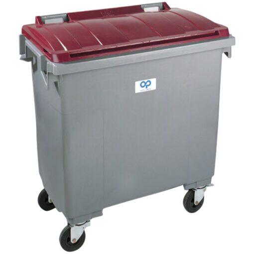 Contenedor de plástico color Gris con tapa de color Rojo4 ruedas, 1000 L 126,5 cm x 107 cm x 130 cm 1